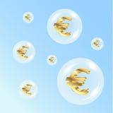 Euro nas bolhas de ar Imagem de Stock Royalty Free