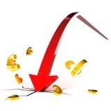 Euro Neerstorting Royalty-vrije Stock Afbeelding