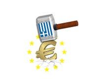 Euro Neerstorting - Griekenland Royalty-vrije Stock Afbeeldingen