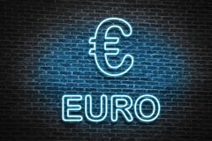 Euro neon sign. Blue neon Euro sign, in old brick wall Stock Image