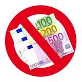 Euro in nessun segno dell'entrata Immagini Stock
