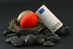 Euro Nest Eggs Troubled Royalty Free Stock Images
