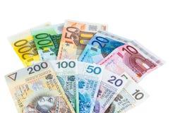 Euro and new polish zloty banknotes Royalty Free Stock Image
