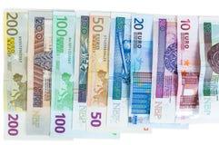 Euro and new polish zloty banknotes stock image