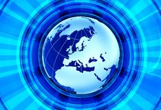 Euro News. Background. European Continent - Globe Model and Blue Shiny Rays Background. Great for Radio/TV Broadcast Related Artwork royalty free illustration