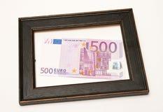 Euro no frame de madeira Imagens de Stock