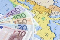 Euro no mapa Imagens de Stock