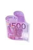 Euro- nota de banco sob a forma de um coração Imagem de Stock Royalty Free