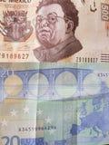 20 euro nota en 500 peso's van Mexico, achtergrond en textuur Royalty-vrije Stock Fotografie