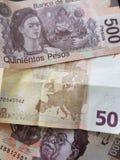 50 euro nota en 1000 peso's van Mexico, achtergrond en textuur Stock Foto