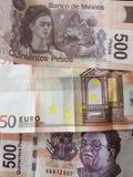 50 euro nota en 1000 peso's van Mexico, achtergrond en textuur Royalty-vrije Stock Afbeeldingen