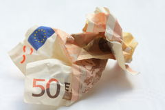 Euro- nota fifthy Trashy Fotos de Stock Royalty Free