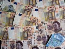 euro nota's en Mexicaanse bankbiljetten, achtergrond en textuur Royalty-vrije Stock Afbeeldingen