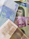 euro nota's en Mexicaanse rekeningen, achtergrond en textuur Stock Afbeeldingen