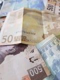 euro nota's en Mexicaanse rekeningen, achtergrond en textuur Stock Foto