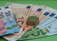 Euro nota's en muntstukken, Europese Unie Royalty-vrije Stock Afbeeldingen