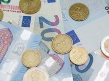 Euro nota's en muntstukken, Europese Unie Royalty-vrije Stock Afbeelding