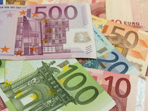 Euro nota's met bezinning Stock Foto's