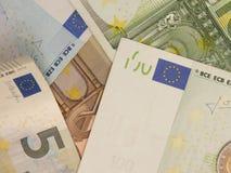 Euro nota's met bezinning Royalty-vrije Stock Afbeeldingen
