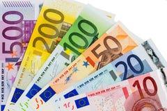 Euro nota's met bezinning Royalty-vrije Stock Afbeelding