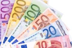 Euro nota's met bezinning Stock Afbeeldingen