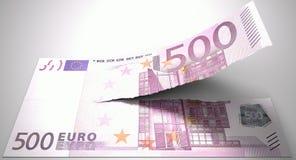 Euro nota strappante fotografie stock