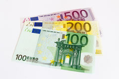 Euro- notas com reflexão imagens de stock royalty free