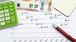 Euro- notas com reflexão Foto de Stock Royalty Free