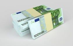 Euro- notas com reflexão Dinheiro e conceitos do negócio imagens de stock
