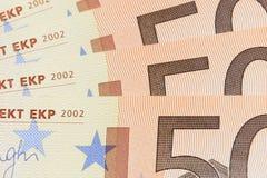 50 euro- notas de banco Imagens de Stock Royalty Free