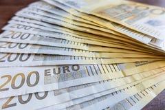 200 euro- notas de banco Fotografia de Stock