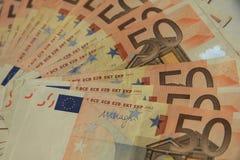 50 euro- notas de banco Imagens de Stock