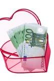 Euro- notas de banco com um coração Imagem de Stock Royalty Free