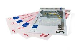 Euro- notas de banco da moeda Fotografia de Stock