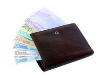 Euro- notas de banco de cinco até cinco cem em uma bolsa Imagem de Stock Royalty Free