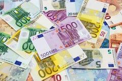 Euro- notas de banco diferentes Imagem de Stock