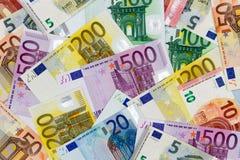 Euro- notas de banco diferentes Fotos de Stock