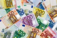 Euro- notas de banco diferentes Foto de Stock Royalty Free