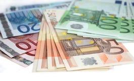 Euro- notas de banco do dinheiro Foto de Stock