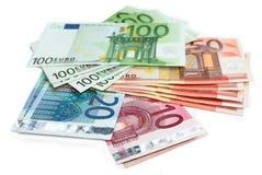 Euro- notas de banco do dinheiro Imagem de Stock Royalty Free