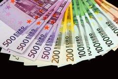 Euro- notas de banco do dinheiro Fotografia de Stock Royalty Free