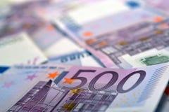 500 euro- notas de banco do dinheiro Fotos de Stock
