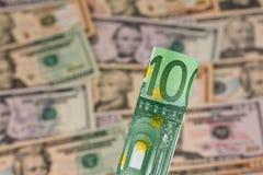 Euro- notas de banco e dólar Imagem de Stock Royalty Free