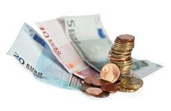 Euro- notas de banco e dinheiro das moedas. Foto de Stock