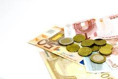Euro- notas de banco e moedas Imagens de Stock