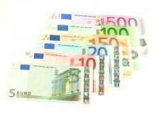 Euro- notas de banco, isoladas no branco Imagens de Stock Royalty Free