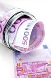 Euro- notas de banco no frasco do dinheiro Foto de Stock Royalty Free