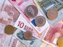 Euro- notas e moedas imagens de stock