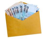Euro- notas envelope marrom/amarelo, isolado Imagem de Stock