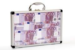 Euro-notas llenadas maleta Fotos de archivo libres de regalías